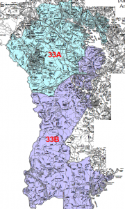 Former configuration of District 33A and 33B (2002-2010)