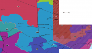 The new 44th Senate District, comprised of 44B (light blue) and 44A (light red). Click to enlarge.
